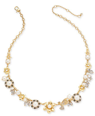 Kate Spade Gold-Tone Imitation Pearl Floral 17 Statement Necklace