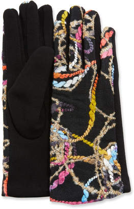 Neiman Marcus Abstract Embroidery Gloves