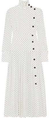Alessandra Rich - Pleated Polka-dot Silk Crepe De Chine Midi Dress - White