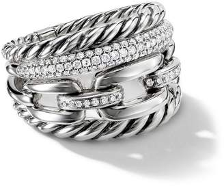 David Yurman Wellesley Four-Row diamonds 16.5mm ring