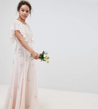 Asos DESIGN Petite delicate embellisheds maxi dress with angel sleeve