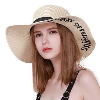 BEIGE Jeff   Aimy Ladies Straw Sun Hats for Women Floppy UPF Beach  Accessories Pool Derby 3a1571b93fd6