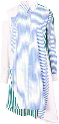Sacai asymmetric patchwork shirt dress