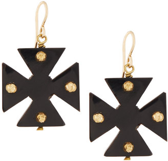 Ashley Pittman Arba Studded Dark Horn Maltese Cross Drop Earrings $240 thestylecure.com