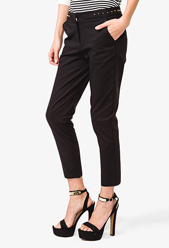 Forever 21 Studded Waist Ankle Pants