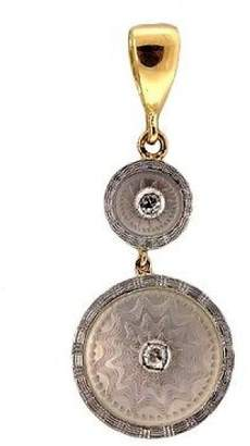 14K Yellow Gold & Platinum with Mother of Pearl & 0.04ct Vintage Diamond Pendant