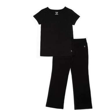 Danskin Girls' Short Sleeve Shirt and Flared Yoga Pant Set