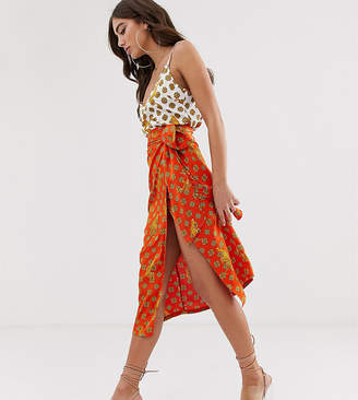 Never Fully Dressed wrap satin midi skirt in orange tiger print
