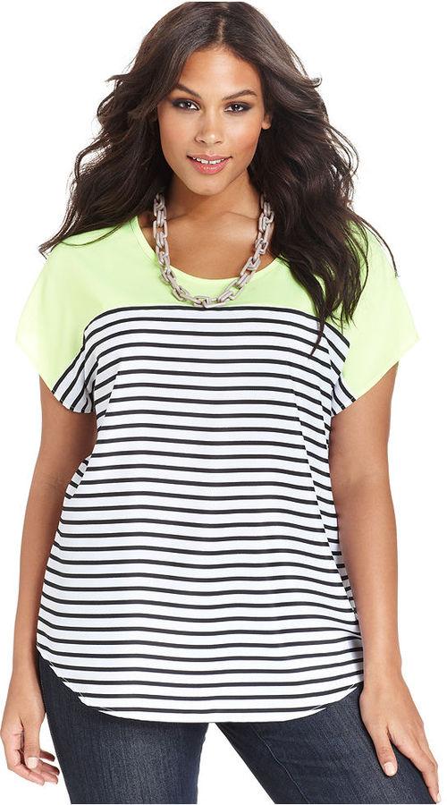 Cha Cha Vente Plus Size Top, Short-Sleeve Striped Neon