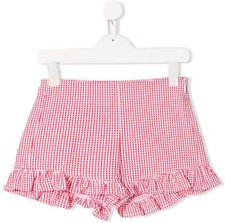 Il Gufo gingham check ruffled shorts