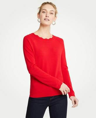 Ann Taylor Petite Scalloped Sweater