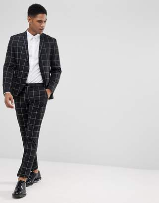 Selected Slim Fit Suit PANTS In Panel Grid