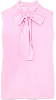 Miu Miu Pussy-bow Silk Crepe De Chine Top - Pink