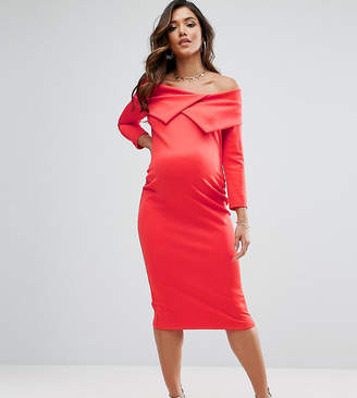Asos Maternity Tall Origami Pleated Bardot Dress In Scuba