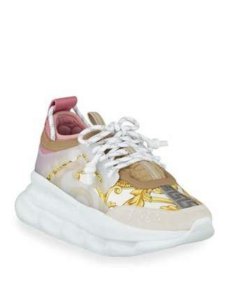 Versace Chain Reaction Barocco-Print Chunky-Heel Sneakers