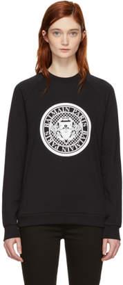 Balmain Black Coin Logo Sweatshirt