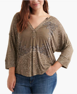 Lucky Brand Plus Size Printed High-Low Top