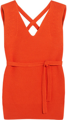 DKNY - Open-back Ribbed Cotton-blend Vest - Orange $250 thestylecure.com