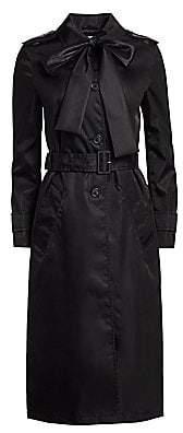 Prada Women's Nylon Tieneck Single Breasted Trench Coat