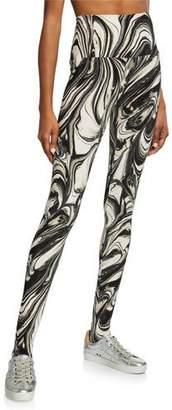 Norma Kamali Printed Jersey Stirrup Leggings