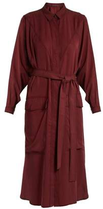 Sabrina Albus Lumen Waist Tie Twill Shirtdress - Womens - Burgundy