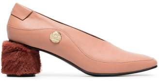 Reike Nen Pink curved 60 Leather and Faux Fur Pumps