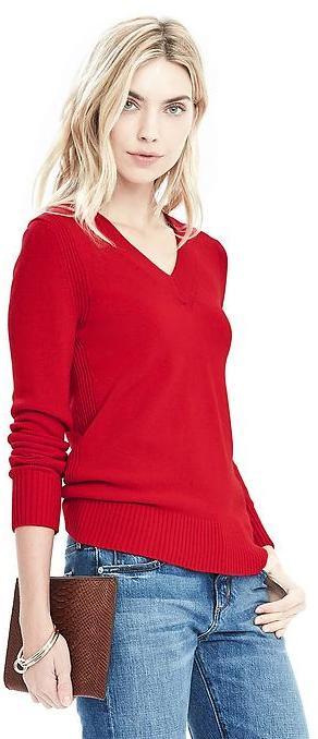 Banana Republic Button-Back Vee Pullover Sweater