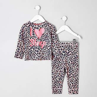 River Island Mini girls pink leopard print pajama set