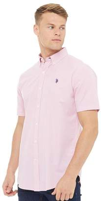 U.S. Polo Assn. Mens Cross Short Sleeve Gingham Shirt Pink