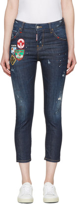 Dsquared2 Blue Patchwork Cool Girl Jeans $685 thestylecure.com