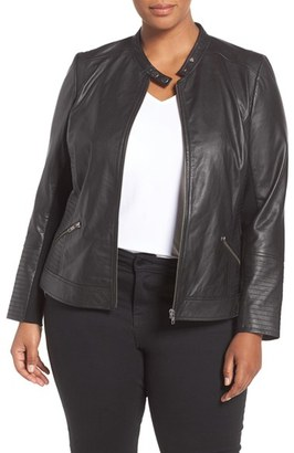 Sejour Channel Stitch Leather Moto Jacket $379 thestylecure.com