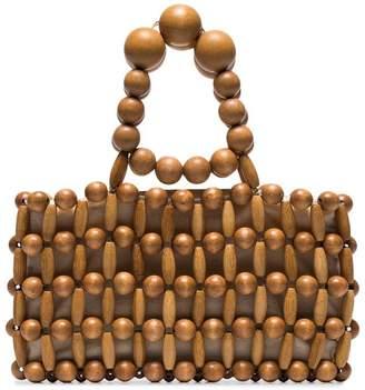 Cult Gaia brown Cora bamboo wood clutch