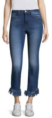 Frame Le High Straight Shredded Hem Jeans