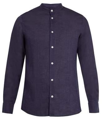 Frescobol Carioca - Granddad Collar Linen Shirt - Mens - Navy