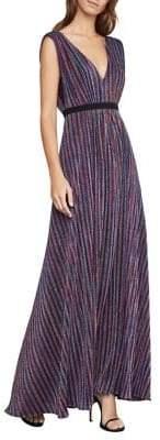BCBGMAXAZRIA Metallic Striped Pleated Gown