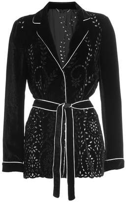 Alberta Ferretti Velvet Blazer with Belt