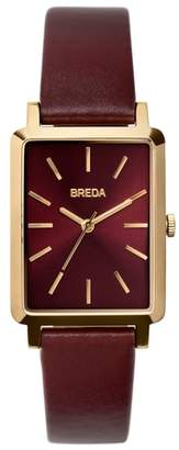 BREDA Baer Rectangular Leather Strap Watch, 26mm