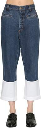 Loewe Denim Jeans With Leather Hem