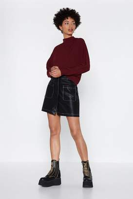 Nasty Gal Ain't That Sew Stitch Faux Leather Skirt