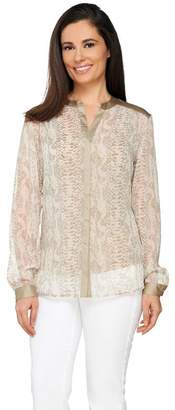 Dennis Basso Python Print Long Sleeve Sheer Blouse with Tank