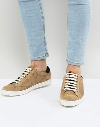 Base London Wafer Suede Sneakers in Stone
