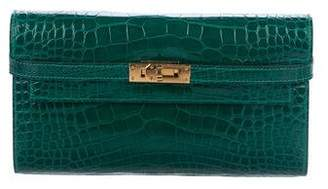 Hermes 2016 Shiny Alligator Kelly Longue Wallet