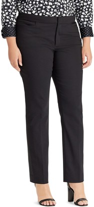 Chaps Plus Size Solid Slim Fit Pants