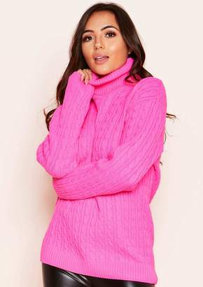 ed3231d4b8 Missy Empire Missyempire Isla Neon Pink Roll Neck Knitted Cable Jumper