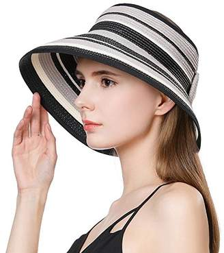 65ea4adc Jeff & Aimy Womens Sun Hat Straw Visor Sunhat UV Protection Wide Brim with Chin  Strap