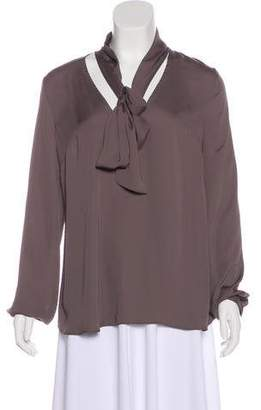House Of Harlow Long Sleeve Tie-Accented Blouse