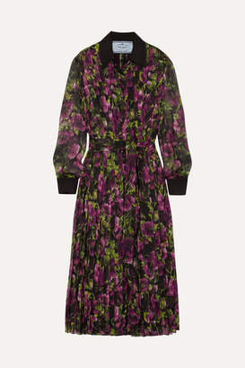 Prada Pleated Floral-print Silk-crepon Midi Dress - Purple