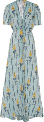 Luisa Beccaria Embroidered Short Sleeve Dress