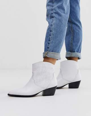 Depp white leather western boots