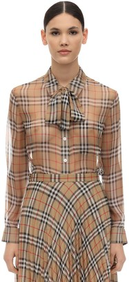 Burberry Printed Silk Shirt W/ Bow